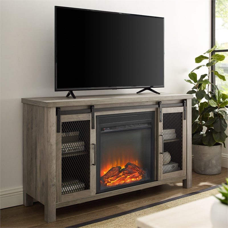 """48"""" Rustic Farmhouse Fireplace Tv Stand – Grey Wash With Tv Stands In Rustic Gray Wash Entertainment Center For Living Room (View 17 of 20)"""