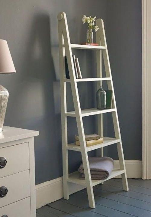 : 50 Ladder Shelf Image Ideas – White Leaning Ladder Regarding Tiva White Ladder Tv Stands (View 12 of 20)