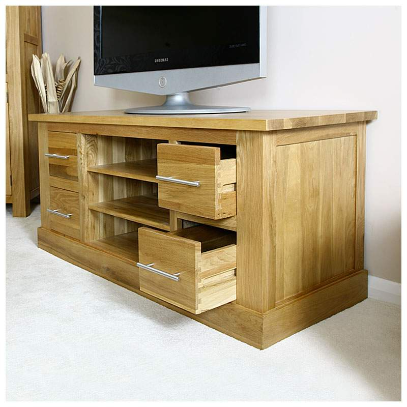 50% Off Solid Oak Tv Cabinet Stand With Drawers   Wide Throughout Indi Wide Tv Stands (View 15 of 20)