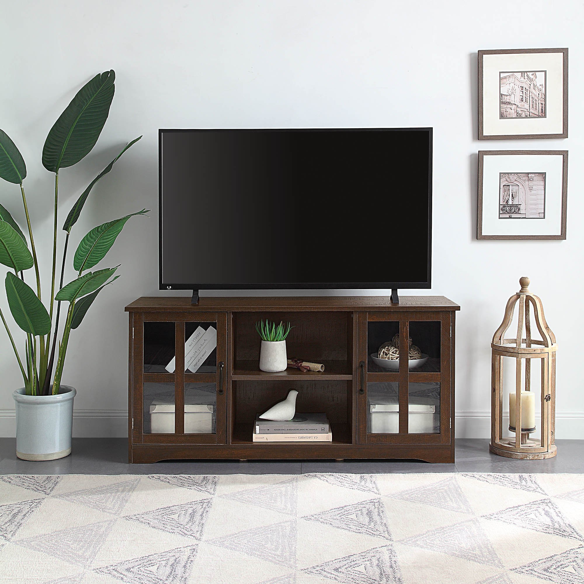 """52 Inch Tv Stand Wood & Glass Console For Tvs Up To 60"""" 
