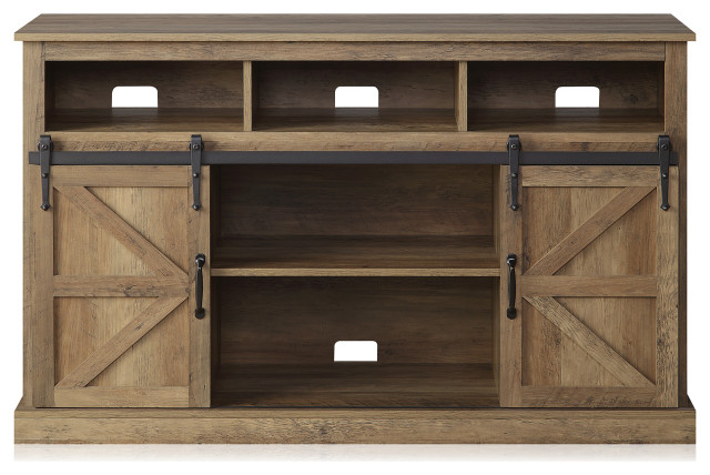 """52"""" Tv Stand Sliding Barn Door Console Entertainment Within Jaxpety 58"""" Farmhouse Sliding Barn Door Tv Stands In Rustic Gray (View 7 of 20)"""