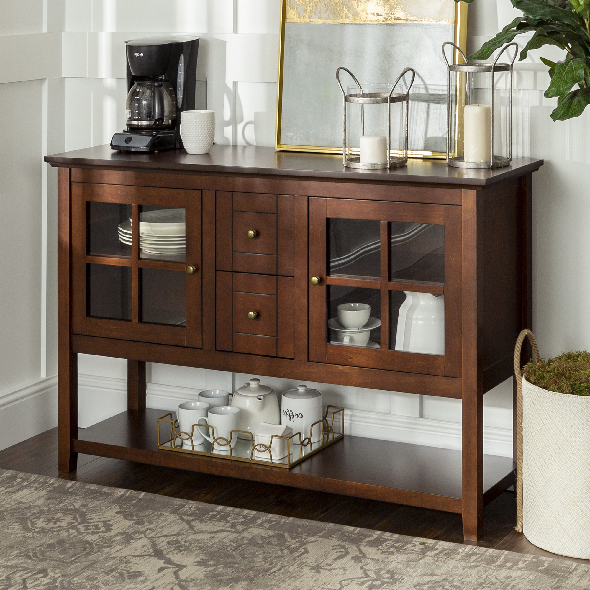 """52"""" Wood Console Table Buffet Tv Stand For Tv's Up To 55 Intended For Twila Tv Stands For Tvs Up To 55"""" (View 16 of 20)"""