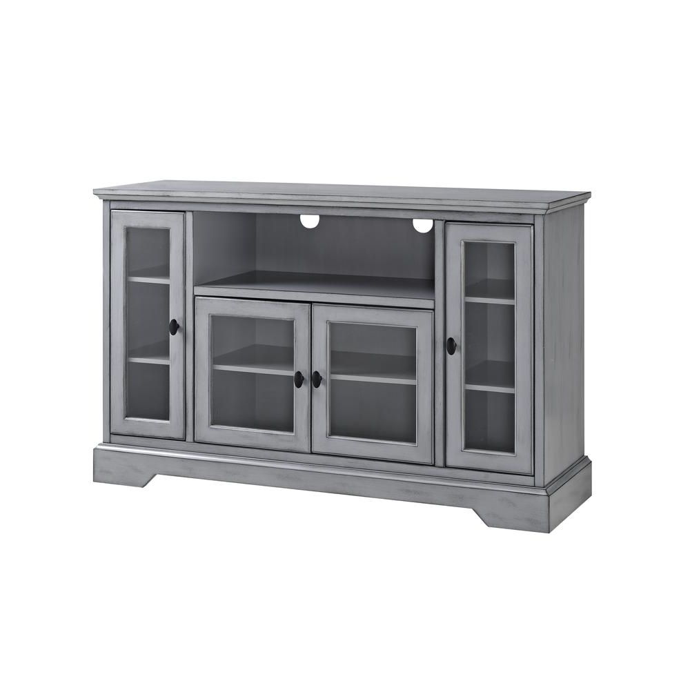 """52"""" Wood Highboy Tv Media Stand Storage Console – Antique Grey In Space Saving Black Tall Tv Stands With Glass Base (View 15 of 20)"""