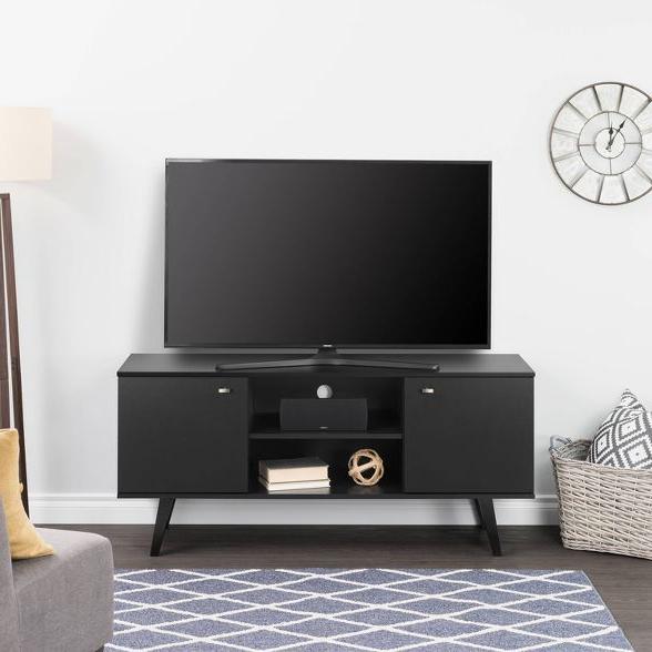 "56"" Mid Century Modern Tv Stand Black – Prepac | Mid Within Prepac Milo Mid Century Modern 56"" Tv Console Stands (View 18 of 20)"