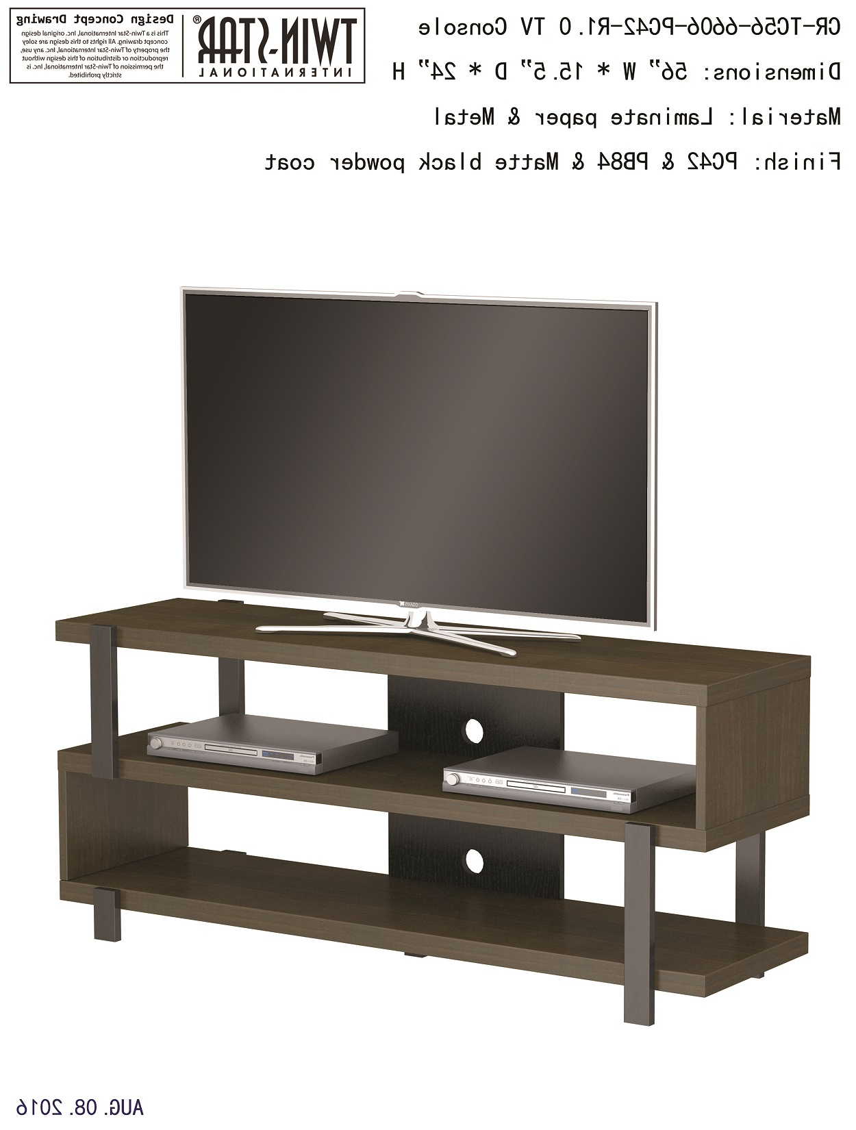"""56"""" Oak Harbor Oyster Walnut Entertainment Media Tv Stand Inside Harbor Wide Tv Stands (View 11 of 20)"""