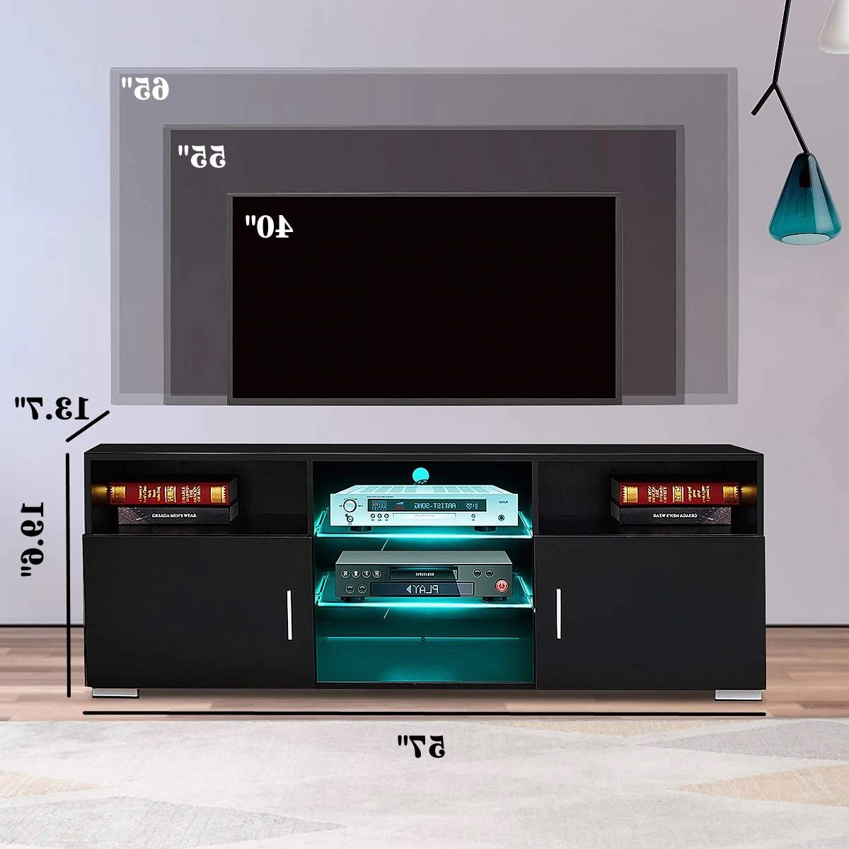 57 Inch High Gloss Tv Stand Cabinet With Led Light With Zimtown Tv Stands With High Gloss Led Lights (View 14 of 20)