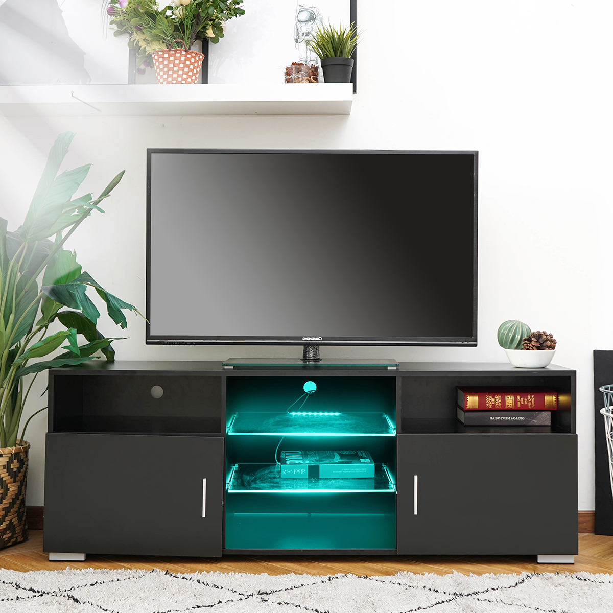 """57'' Led Tv Stand For Tvs Up To 61"""", With Rgb Led Light Intended For 57'' Tv Stands With Led Lights Modern Entertainment Center (View 5 of 20)"""