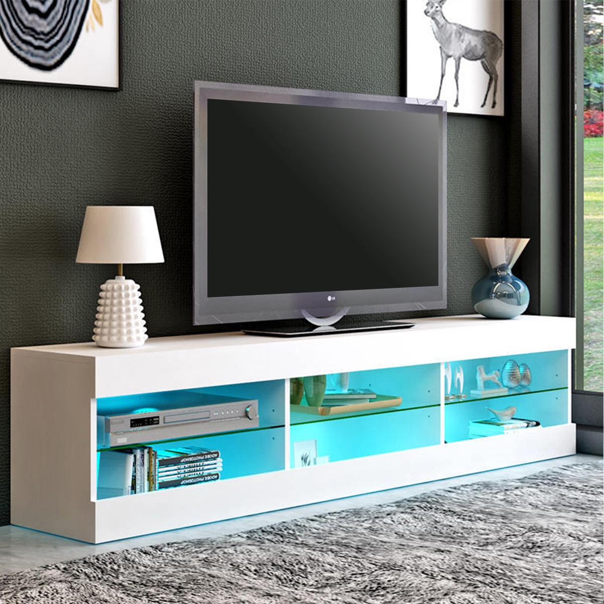 57'' Tv Stand With Rgb Led Lights, Modern Decorative Tv Regarding Glass Shelf With Tv Stands (View 3 of 20)