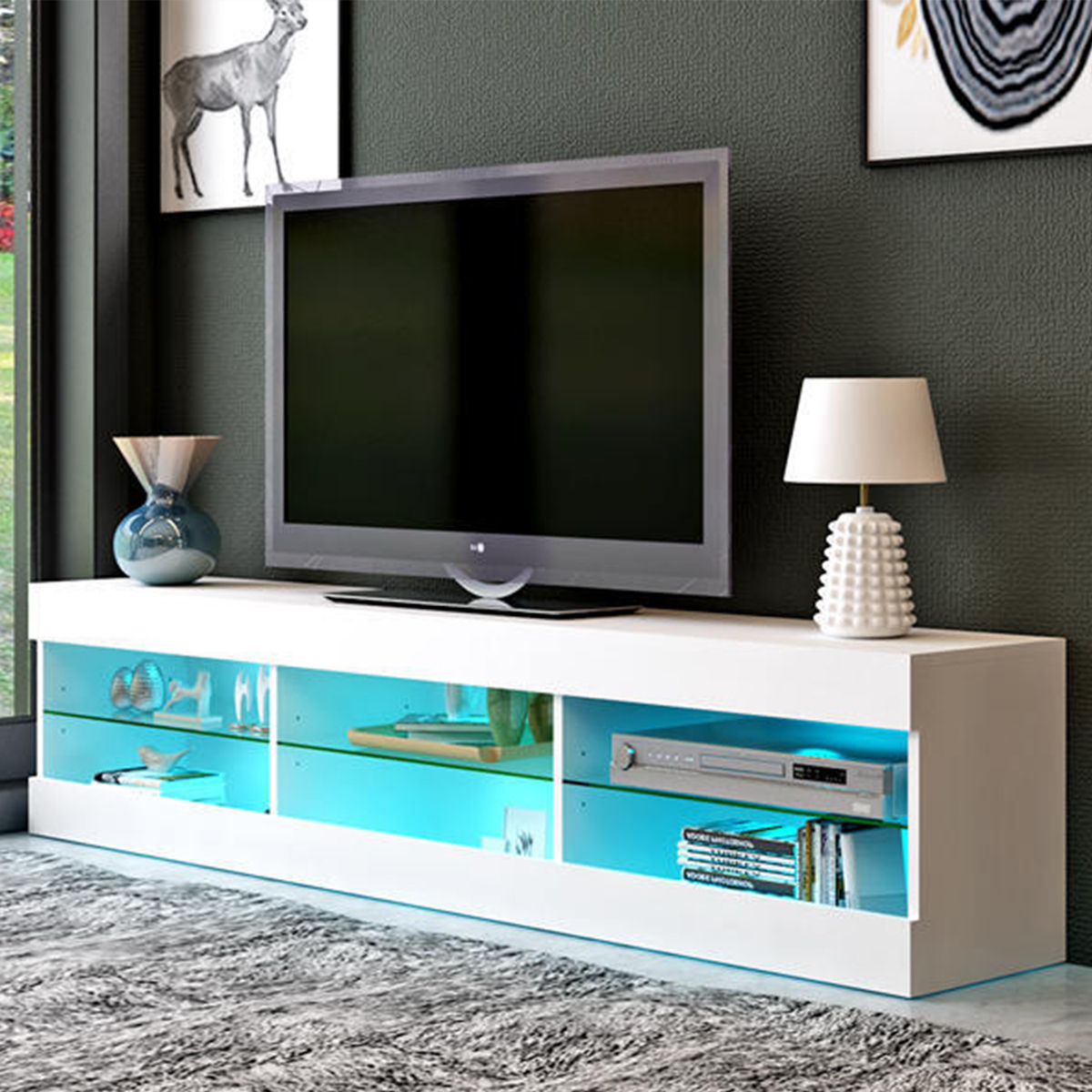 """57'' Tv Stands W/led Lights For Tvs Up To 65"""", Multiple Intended For Totally Tv Stands For Tvs Up To 65"""" (View 5 of 20)"""