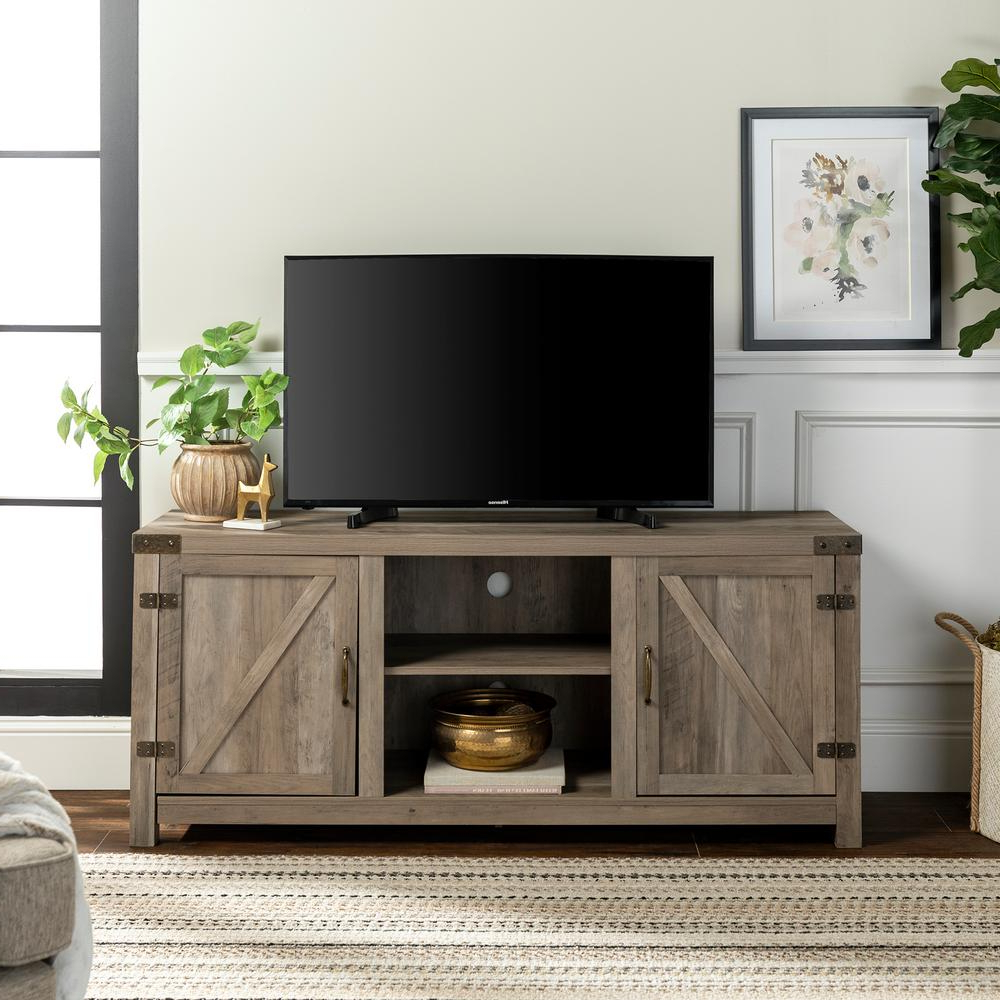 """58 Barn Door Tv Stand With Side Doors Grey Wash   Firwan's With Jaxpety 58"""" Farmhouse Sliding Barn Door Tv Stands In Rustic Gray (View 12 of 20)"""