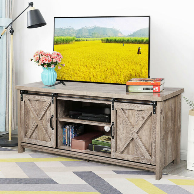 """58"""" Farmhouse Tv Stand For Tvs With Sliding Wood Barn Door Pertaining To Modern Farmhouse Style 58"""" Tv Stands With Sliding Barn Door (View 7 of 20)"""