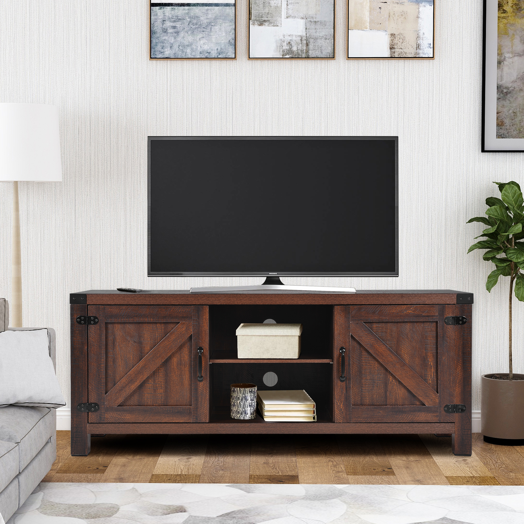 58 Inch Wood Tv Stand, Farmhouse Tv Stand With Fireplace Intended For Barn Door Wood Tv Stands (View 6 of 20)