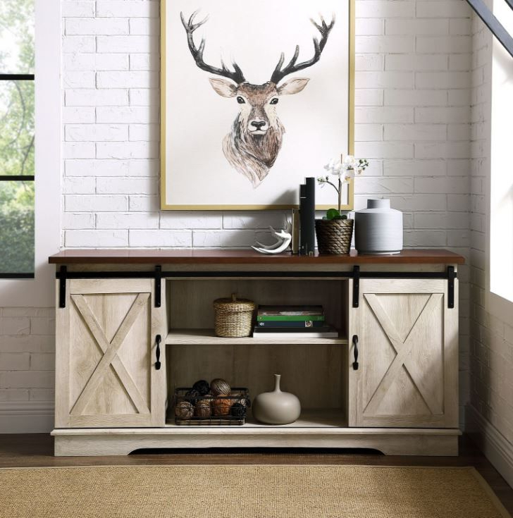"""58"""" Modern Farmhouse Sliding Barn Door Tv Stand Media Throughout Dark Brown Tv Cabinets With 2 Sliding Doors And Drawer (View 4 of 20)"""
