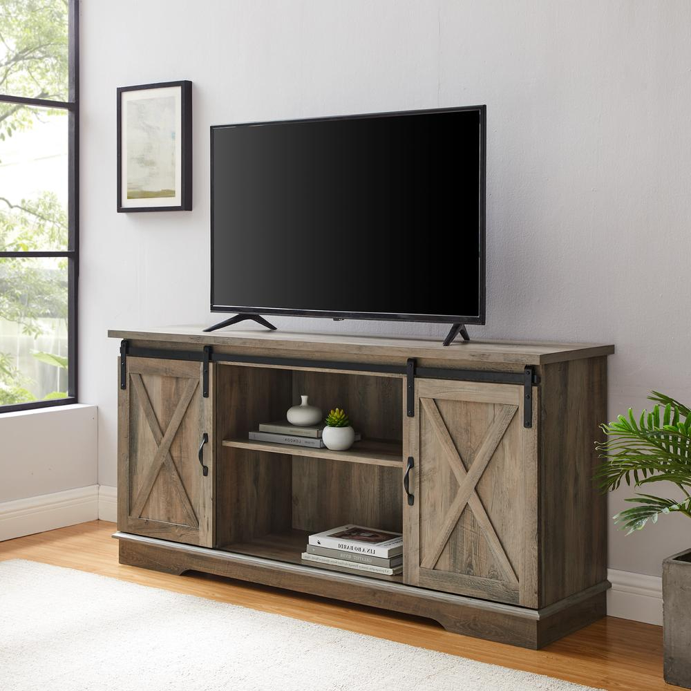 """58"""" Sliding Barn Door Tv Console – Grey Wash With Regard To Jaxpety 58"""" Farmhouse Sliding Barn Door Tv Stands In Rustic Gray (View 3 of 20)"""