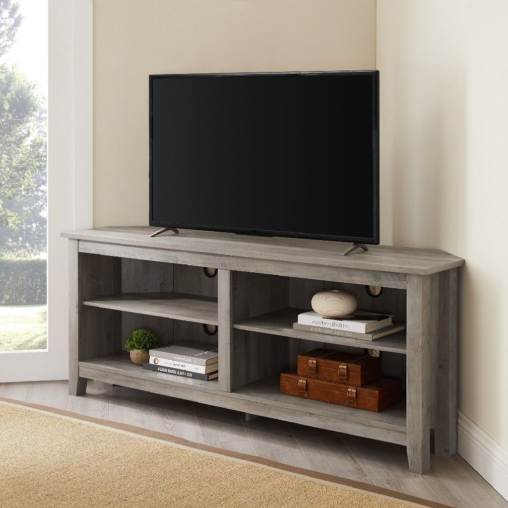 """58"""" Transitional Wood Corner Tv Stand In Grey Wash Pertaining To 60"""" Corner Tv Stands Washed Oak (View 5 of 20)"""