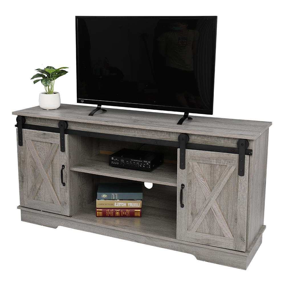 """58"""" Tv Stand Sliding Barn Door Console For Tv's Up To 65 With Jaxpety 58"""" Farmhouse Sliding Barn Door Tv Stands In Rustic Gray (View 16 of 20)"""