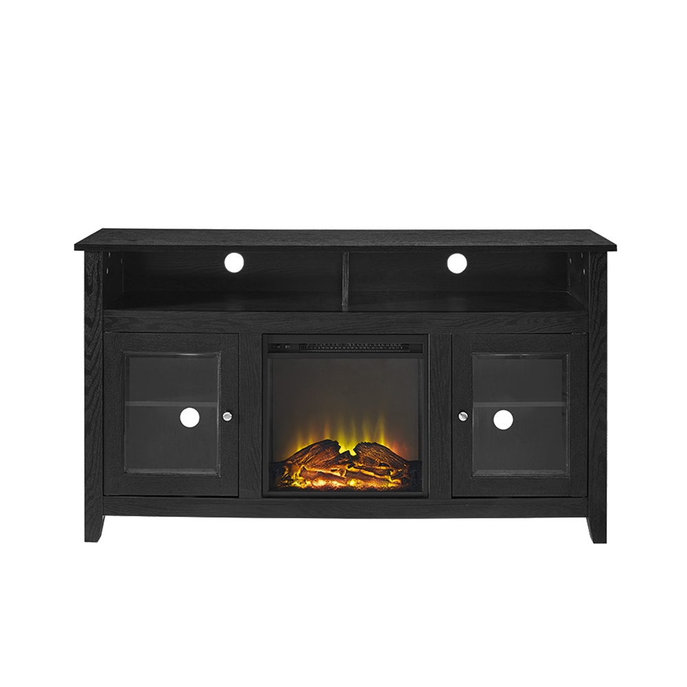 """58"""" Wood Highboy Fireplace Tv Stand – Black With Regard To Modern Black Floor Glass Tv Stands For Tvs Up To 70 Inch (View 9 of 20)"""