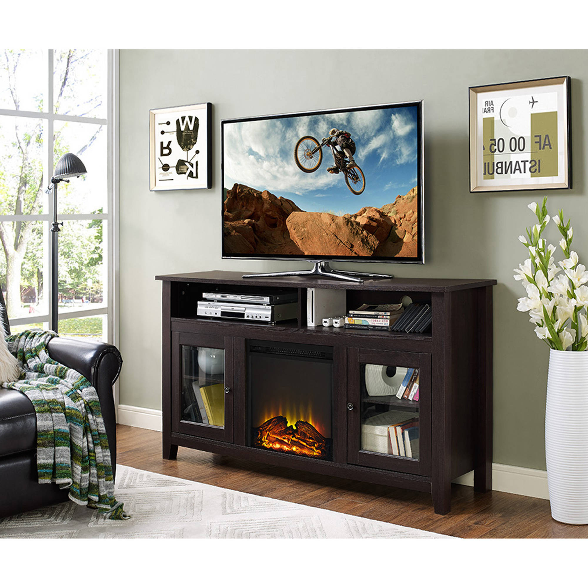 """58"""" Wood Highboy Fireplace Tv Stand For Tvs Up To 60 Inside Corner Tv Stands For Tvs Up To 60"""" (View 14 of 20)"""
