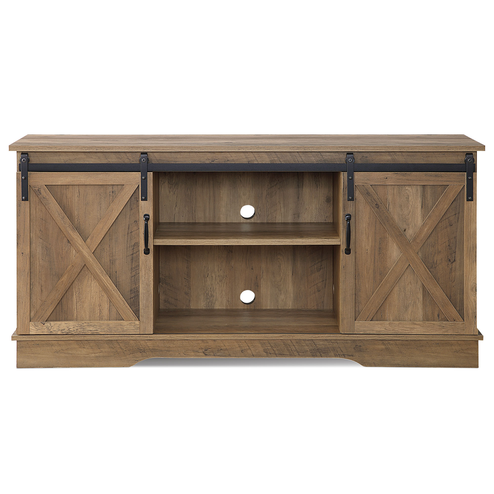 """58""""farmhouse Tv Stand W/sliding Door Console Table For Tvs In Tv Stands With Sliding Barn Door Console In Rustic Oak (View 4 of 20)"""