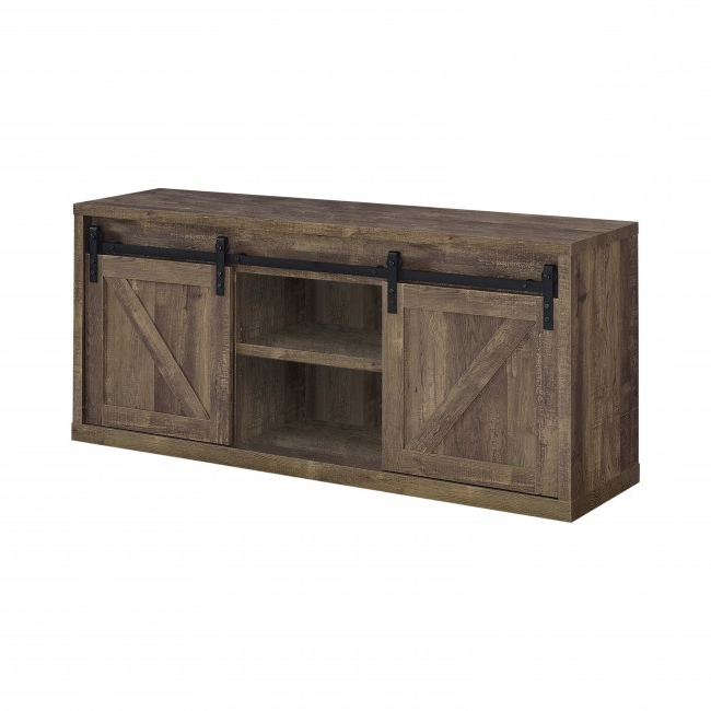 59 Inch 3 Shelf Sliding Doors Tv Console Rustic Oak With Tv Stands With Sliding Barn Door Console In Rustic Oak (View 11 of 20)