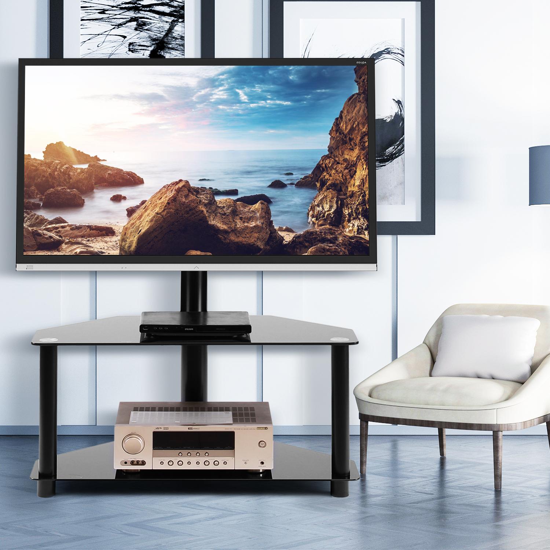 5rcom 2 Shelf Corner Floor Tv Stand With Swivel Mount For In Swivel Floor Tv Stands Height Adjustable (View 6 of 20)