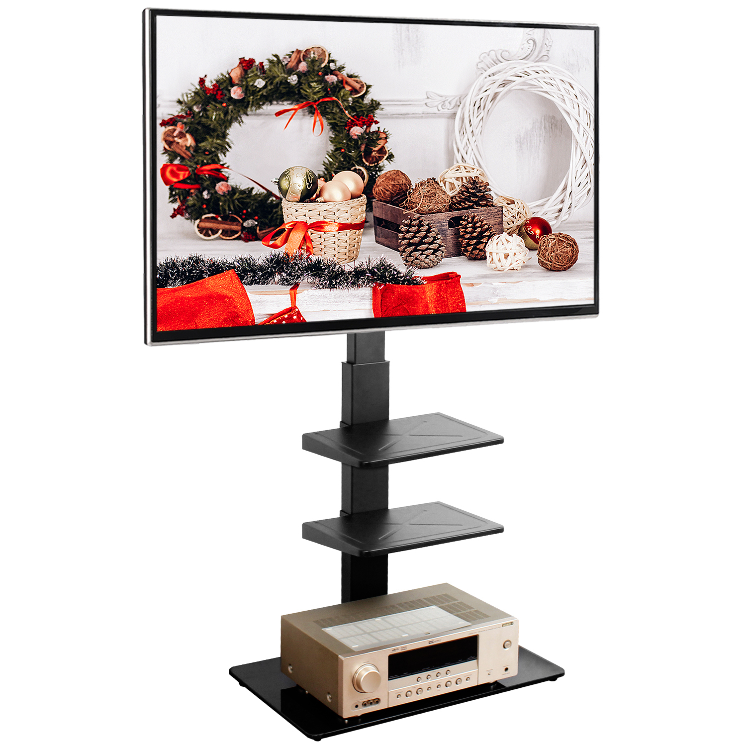5rcom Black Floor Tv Stand With Swivel Mount Bracket For Within Modern Black Tv Stands On Wheels With Metal Cart (View 9 of 20)