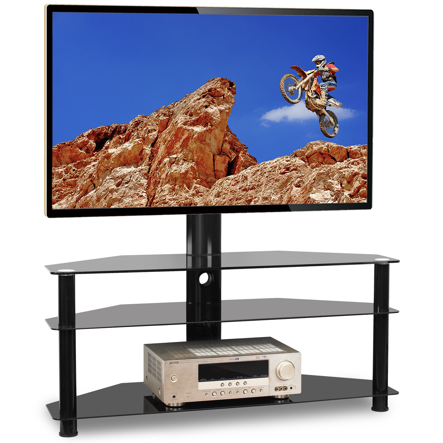 """5rcom Floor Tv Stand With Swivel Mount For Flat Curved In Glass Shelves Tv Stands For Tvs Up To 50"""" (View 1 of 20)"""