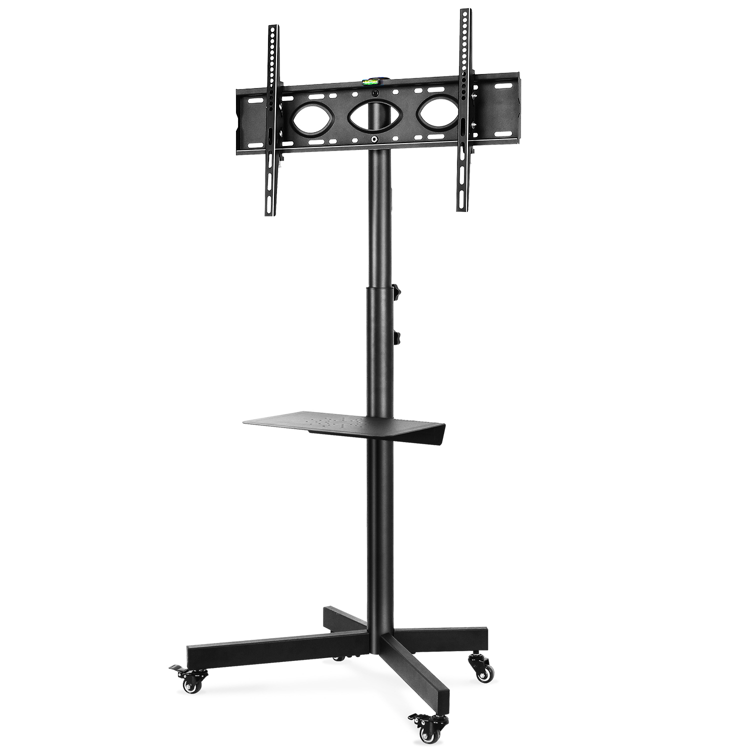 5rcom Mobile Adjustable Floor Tv Stand Cart For Tvs Up To With Regard To Rolling Tv Cart Mobile Tv Stands With Lockable Wheels (View 10 of 20)