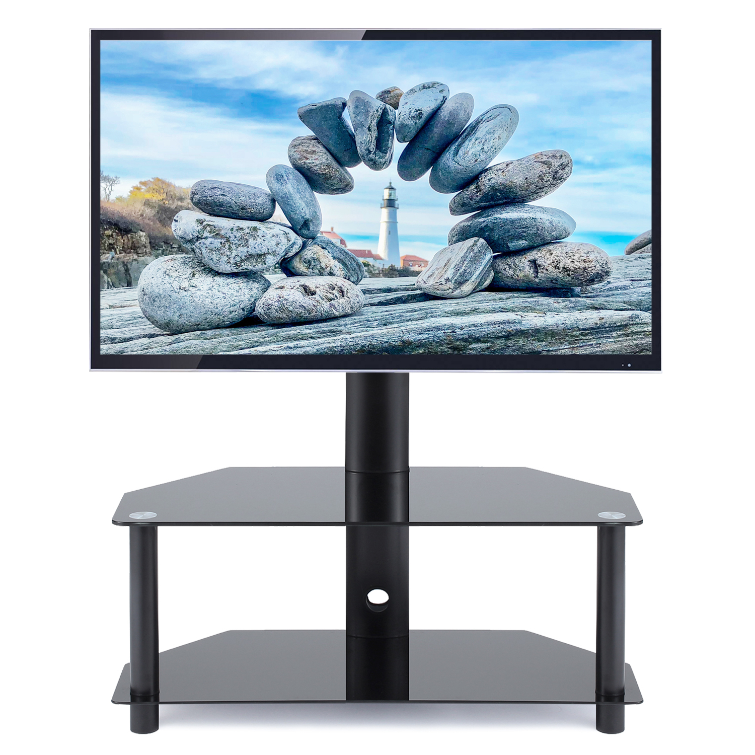 """5rcom Modern Swivel Floor Corner Tv Stand For Tvs Up To 55 Throughout Mission Corner Tv Stands For Tvs Up To 38"""" (View 14 of 20)"""
