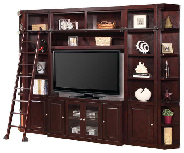 6 Piece Boston Space Saver Entertainment Center, Merlot Within Boston Tv Stands (View 8 of 20)