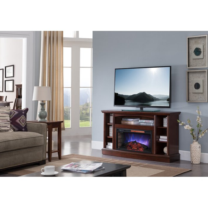 60 Cherry Finish Electric Fireplace | Electric Fireplace Throughout Shelby Corner Tv Stands (View 7 of 20)