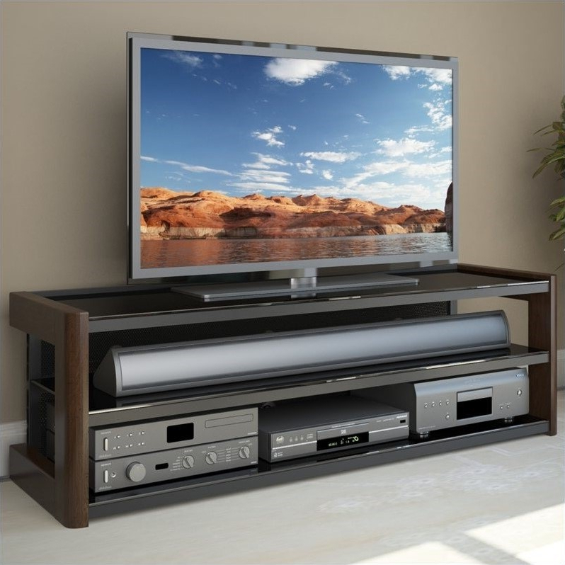 """60"""" Glass Tv Stand In Dark Espresso – B 051 Lmt Inside Glass Shelves Tv Stands For Tvs Up To 60"""" (View 13 of 20)"""