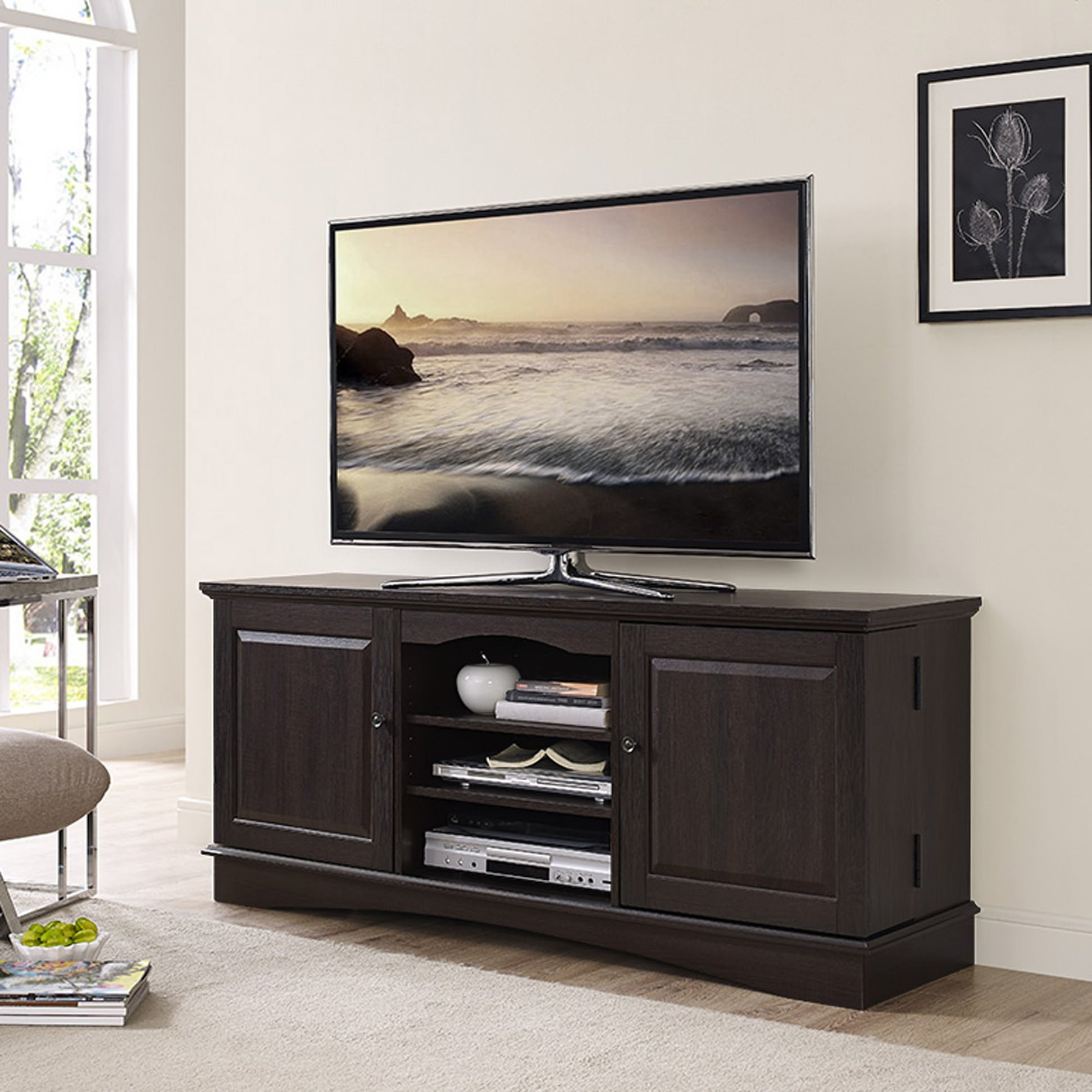 """60 Inch Espresso Wood Tv Standwalker Edison Throughout Adayah Tv Stands For Tvs Up To 60"""" (View 2 of 20)"""
