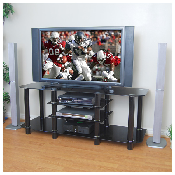 """60 Inch Glass Tv Stand In Black Inside Glass Shelves Tv Stands For Tvs Up To 60"""" (View 10 of 20)"""