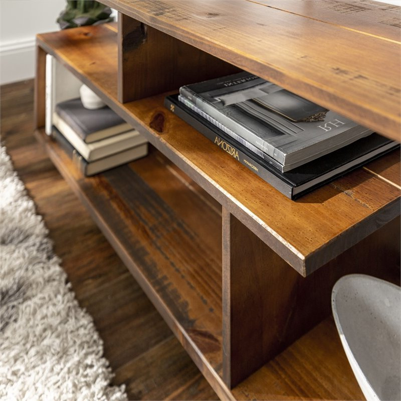 """60 Inch Rustic Solid Wood Asymmetrical Tv Stand Console In With Margulies Tv Stands For Tvs Up To 60"""" (View 17 of 20)"""