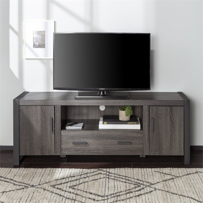 """60"""" Industrial Charcoal Grey Wood Tv Stand – W60ubc22cl Regarding Casey May Tv Stands For Tvs Up To 70"""" (View 1 of 20)"""