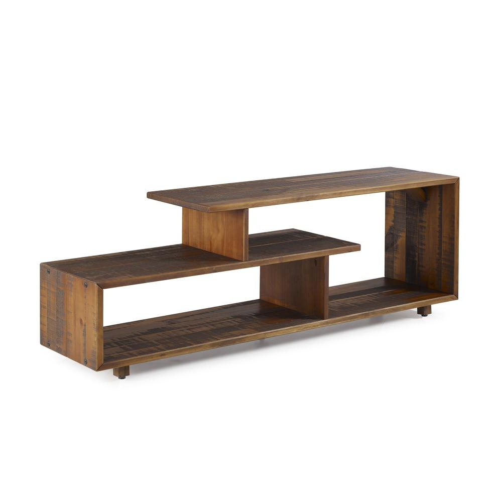 """60"""" Rustic Modern Solid Reclaimed Wood Tv Stand – Amber Throughout Modern Black Tv Stands On Wheels (View 10 of 20)"""
