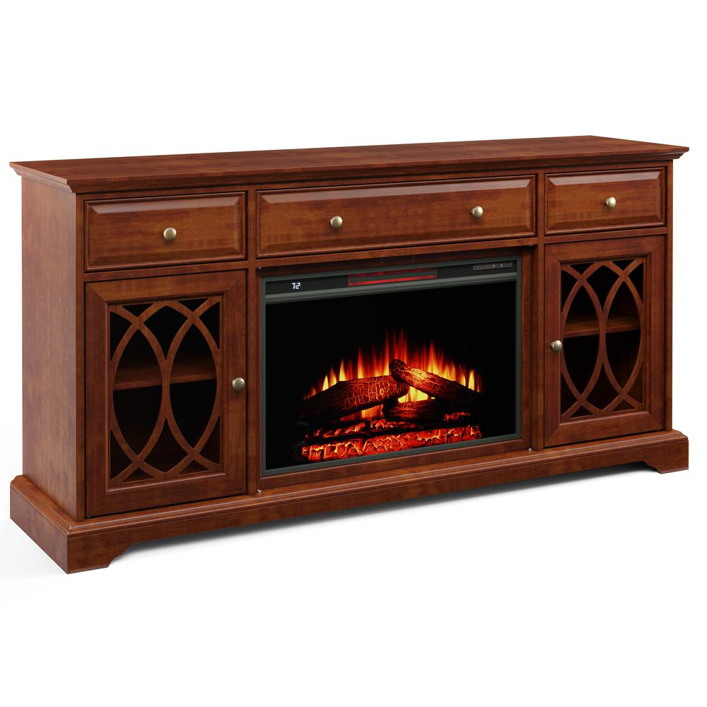 """60'' Segmented Tv Stand With Electric Fireplace – Walmart Pertaining To Hal Tv Stands For Tvs Up To 60"""" (View 11 of 20)"""
