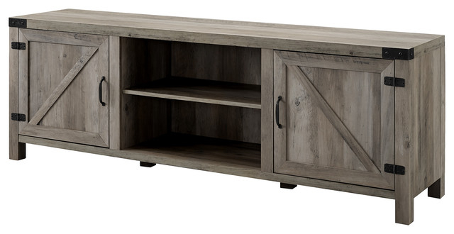 """70"""" Farmhouse Tv Stand With Barn Doors – Farmhouse Regarding Jaxpety 58"""" Farmhouse Sliding Barn Door Tv Stands In Rustic Gray (View 5 of 20)"""
