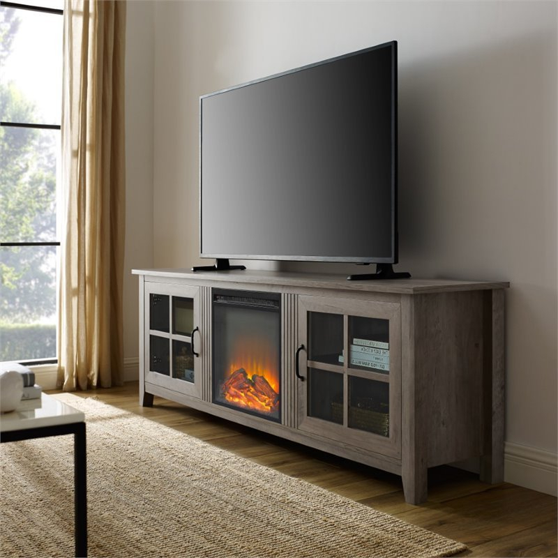 """70"""" Farmhouse Wood Fireplace Tv Stand With Glass Doors With Regard To Glass Tv Stands For Tvs Up To 70"""" (View 4 of 20)"""