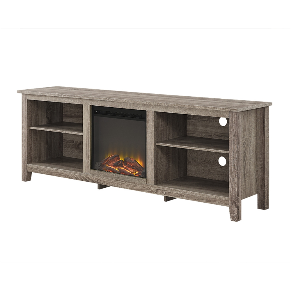 """70"""" Fireplace Tv Stand – Driftwood With Wide Tv Stands Entertainment Center Columbia Walnut/black (View 9 of 20)"""