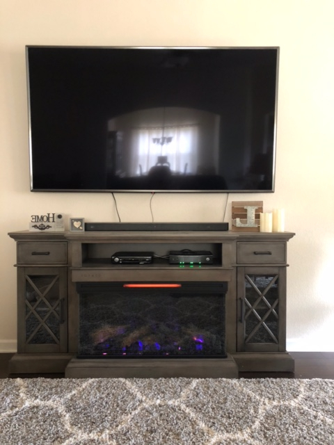"""70"""" Hamilton Weathered Gray Tv Stand Infrared Electric With Casey May Tv Stands For Tvs Up To 70"""" (View 8 of 20)"""