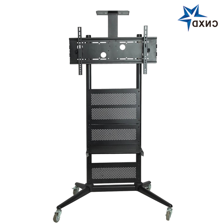 70 Inch Glass Tv Trolley Stand With Mount Tv Trolley On Intended For Mount Factory Rolling Tv Stands (View 4 of 20)