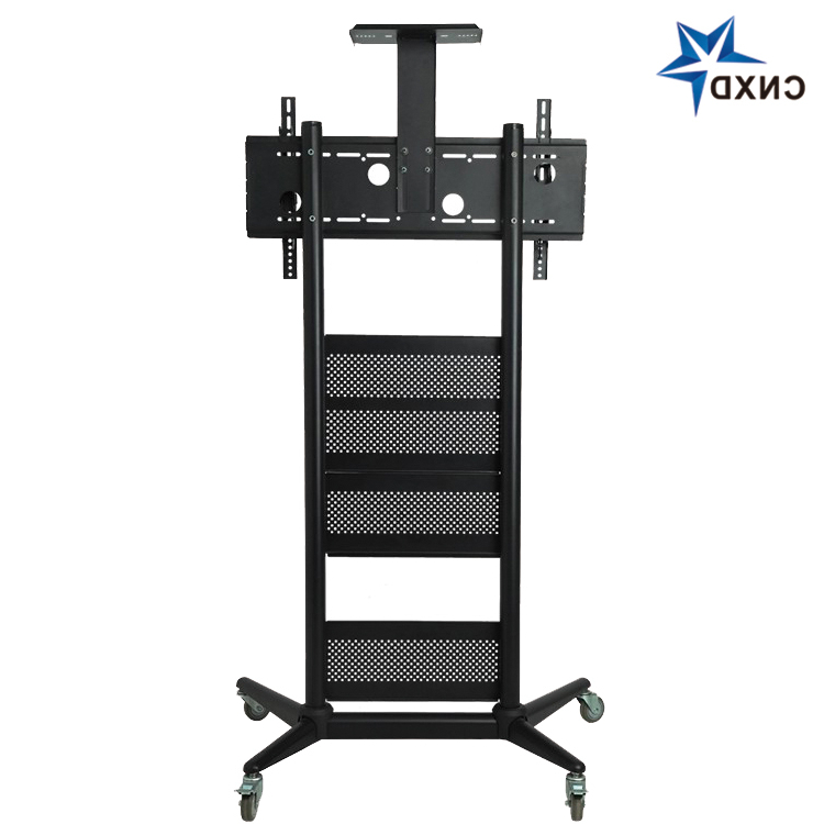 70 Inch Glass Tv Trolley Stand With Mount Tv Trolley On Within Mount Factory Rolling Tv Stands (View 8 of 20)