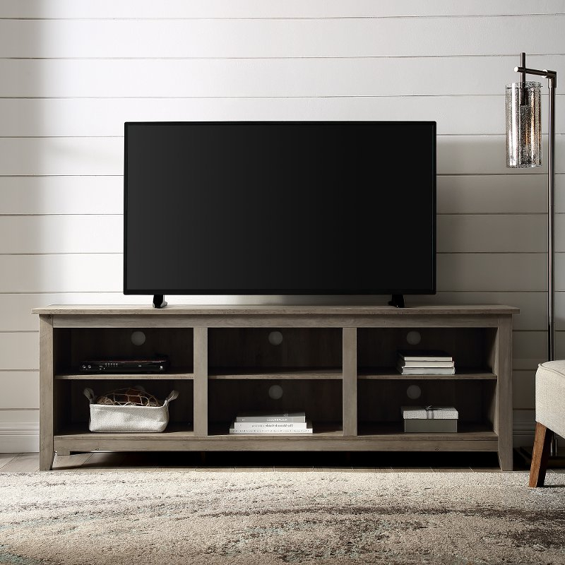 70 Inch Rustic Wood Tv Stand – Grey Wash   Rc Willey For Delphi Grey Tv Stands (View 18 of 20)