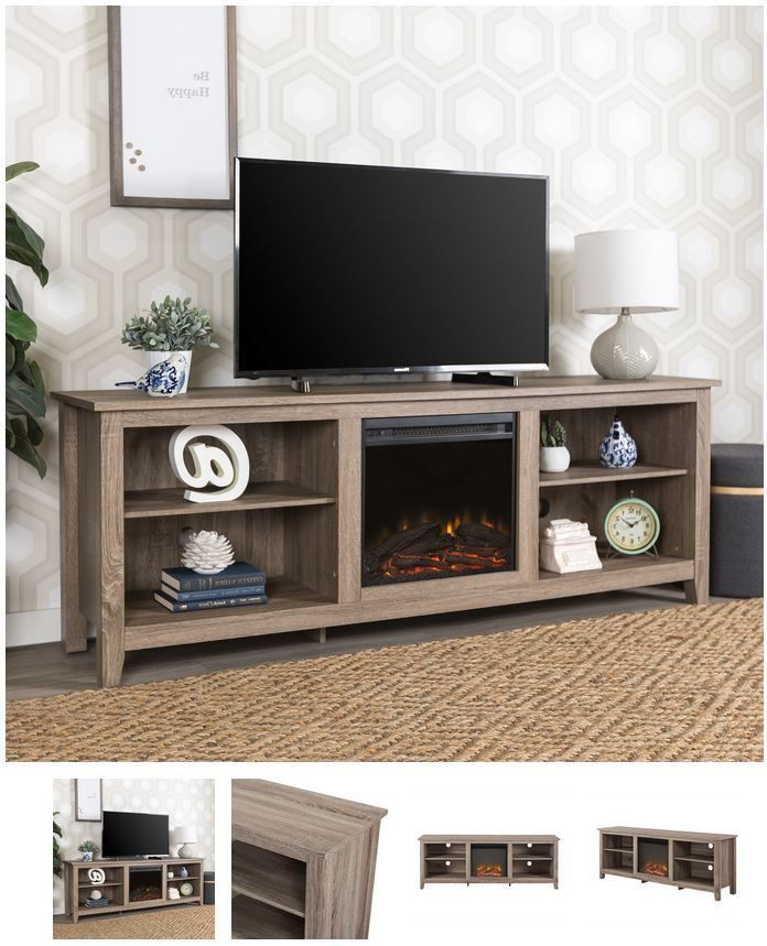 70 Inch Tv Stand With Fireplace Media Console Electric In Woven Paths Open Storage Tv Stands With Multiple Finishes (View 18 of 20)