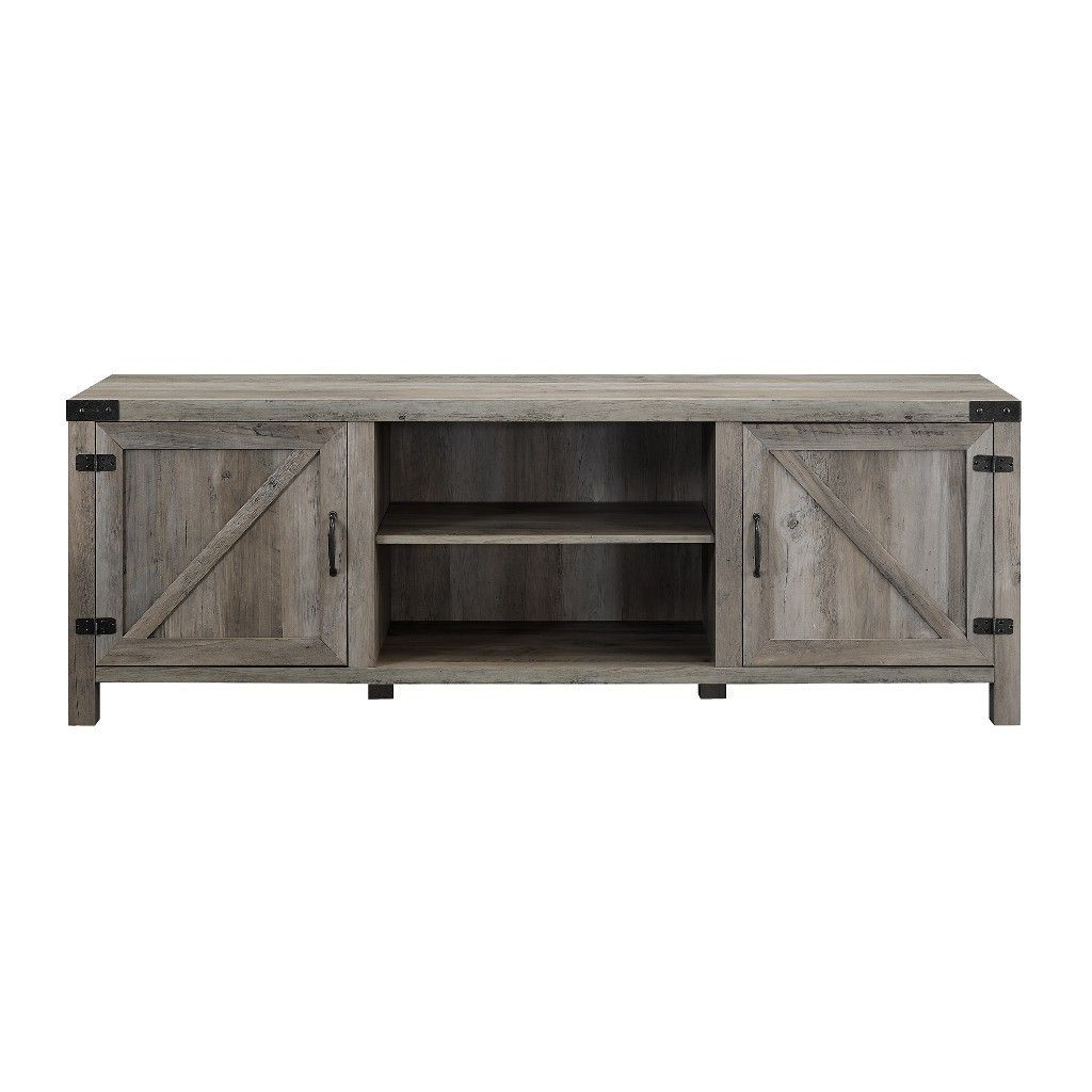 """70"""" Modern Farmhouse Tv Stand In Grey Wash – Walker Edison Intended For Jaxpety 58"""" Farmhouse Sliding Barn Door Tv Stands In Rustic Gray (View 17 of 20)"""