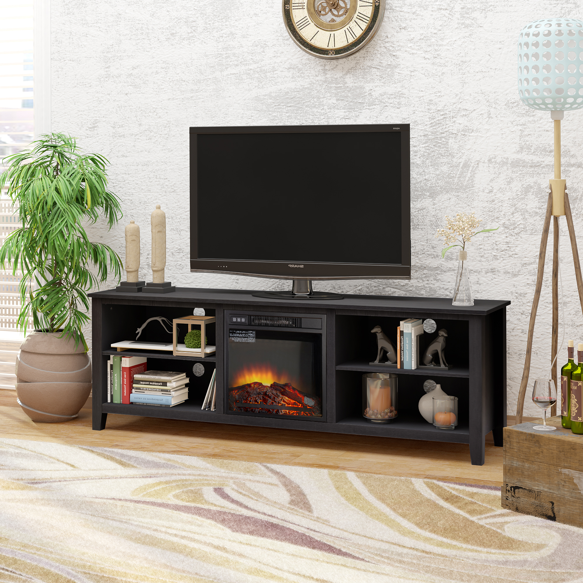 """70"""" Tv Stand Fireplace Media Console For Tvs Up To 80 With Regard To Glass Tv Stands For Tvs Up To 70"""" (View 2 of 20)"""