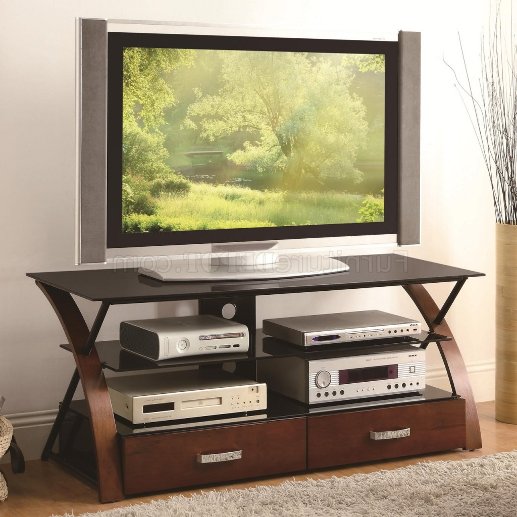 700770 Tv Stand In Browncoaster W/black Glass Shelves Throughout Glass Shelves Tv Stands (View 11 of 20)