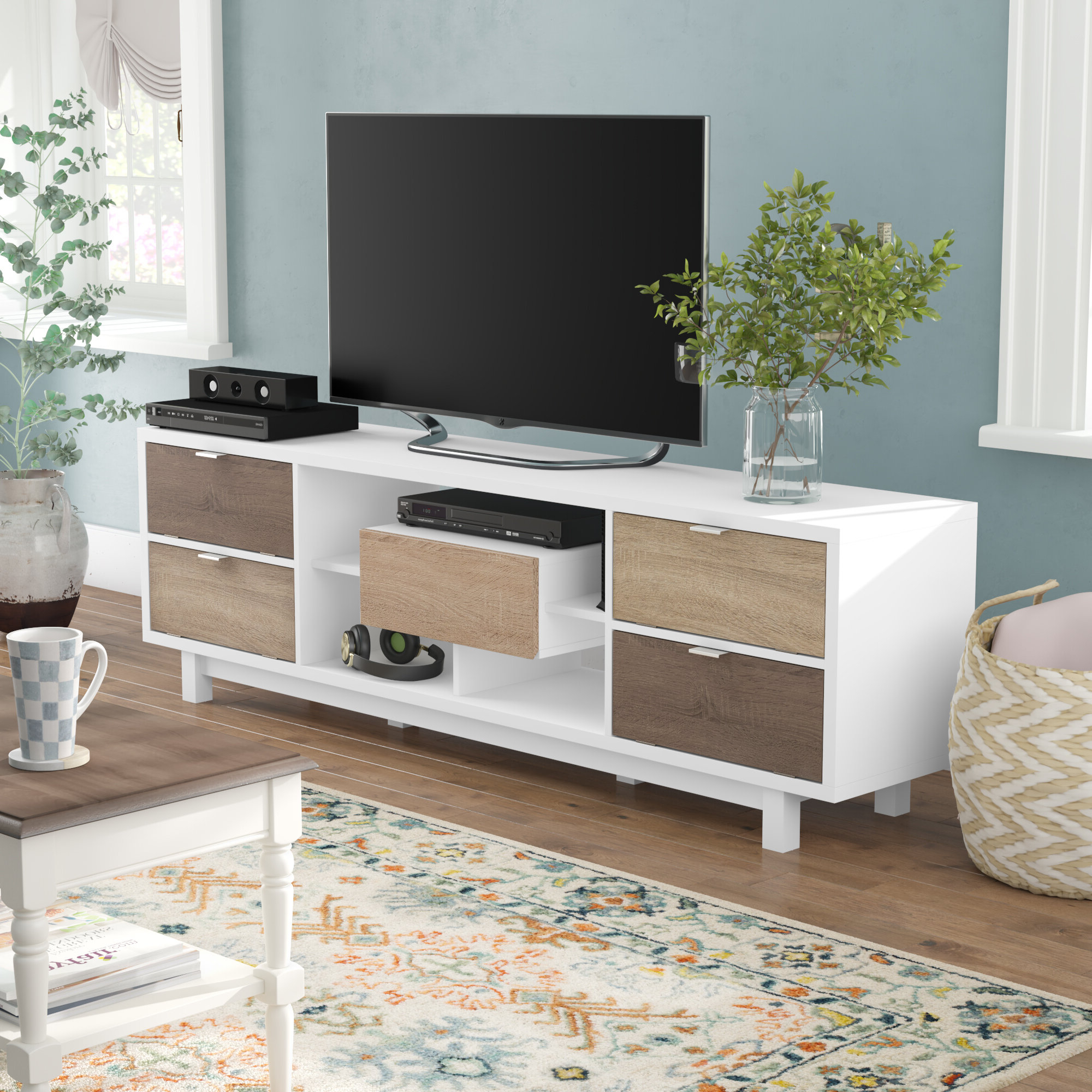 """75 Inch Long Tv Stand Table White Modern Living Room Low With Regard To Chrissy Tv Stands For Tvs Up To 75"""" (View 4 of 20)"""